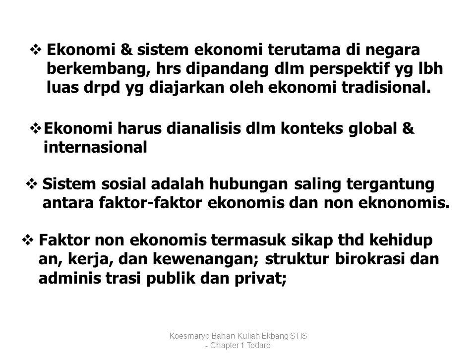 Koesmaryo Bahan Kuliah Ekbang STIS - Chapter 1 Todaro  Ekonomi & sistem ekonomi terutama di negara berkembang, hrs dipandang dlm perspektif yg lbh lu