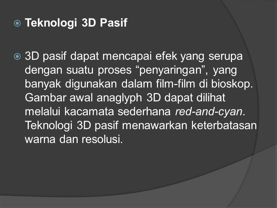  Teknologi Tanpa Kacamata  Panel autostereoscopic ini telah tersedia untuk aplikasi komersial selama bertahun-tahun hingga sekarang dan secara luas dapat dikategorikan ke dalam jenis parallax barrier serta berbagai desain lenticular.