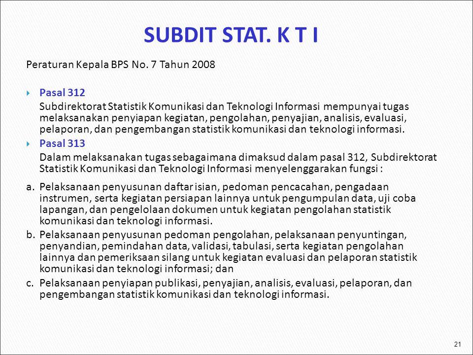 21 Peraturan Kepala BPS No. 7 Tahun 2008  Pasal 312 Subdirektorat Statistik Komunikasi dan Teknologi Informasi mempunyai tugas melaksanakan penyiapan