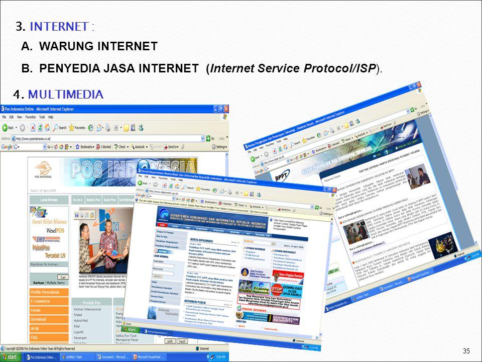 35 A.WARUNG INTERNET B.PENYEDIA JASA INTERNET (Internet Service Protocol/ISP). 3. INTERNET : 4. MULTIMEDIA