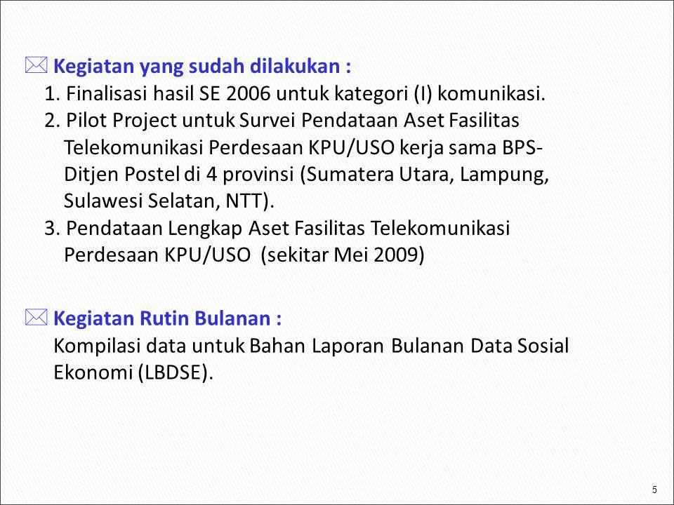 5  Kegiatan yang sudah dilakukan : 1. Finalisasi hasil SE 2006 untuk kategori (I) komunikasi. 2. Pilot Project untuk Survei Pendataan Aset Fasilitas