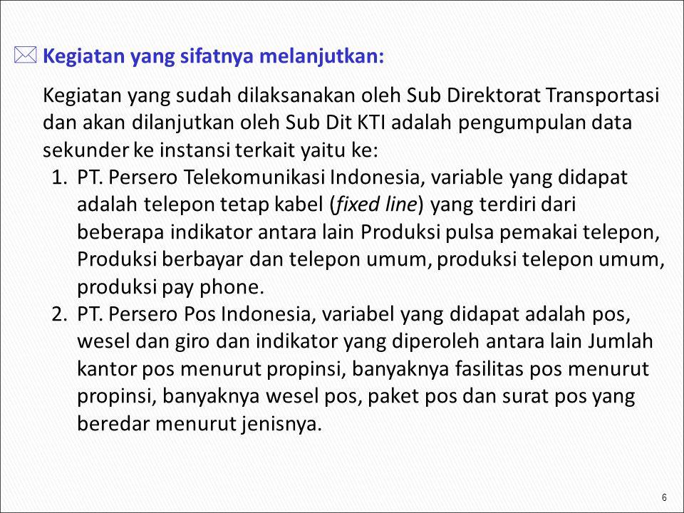 6  Kegiatan yang sifatnya melanjutkan: Kegiatan yang sudah dilaksanakan oleh Sub Direktorat Transportasi dan akan dilanjutkan oleh Sub Dit KTI adalah