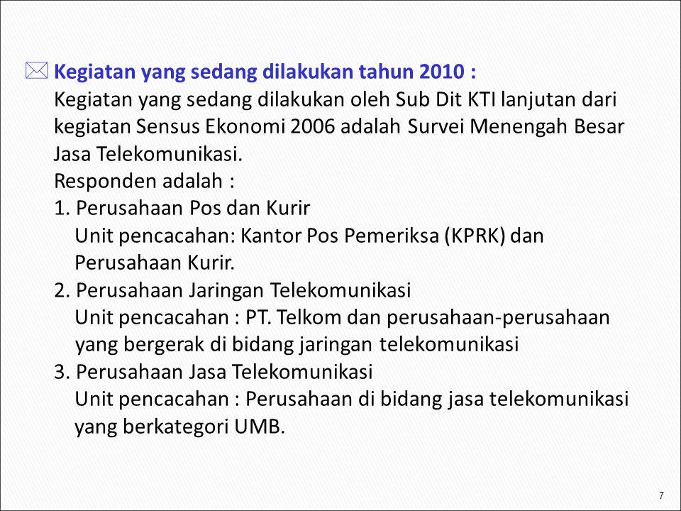 7  Kegiatan yang sedang dilakukan tahun 2010 : Kegiatan yang sedang dilakukan oleh Sub Dit KTI lanjutan dari kegiatan Sensus Ekonomi 2006 adalah Surv