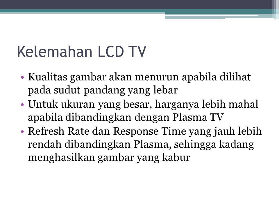 Perkembangan LCD TV Di Masyarakat LCD TV yang di pasaran tampil lebih dulu dari Plasma mengalami penurunan popularitas sejak kemunculan Plasma TV meng