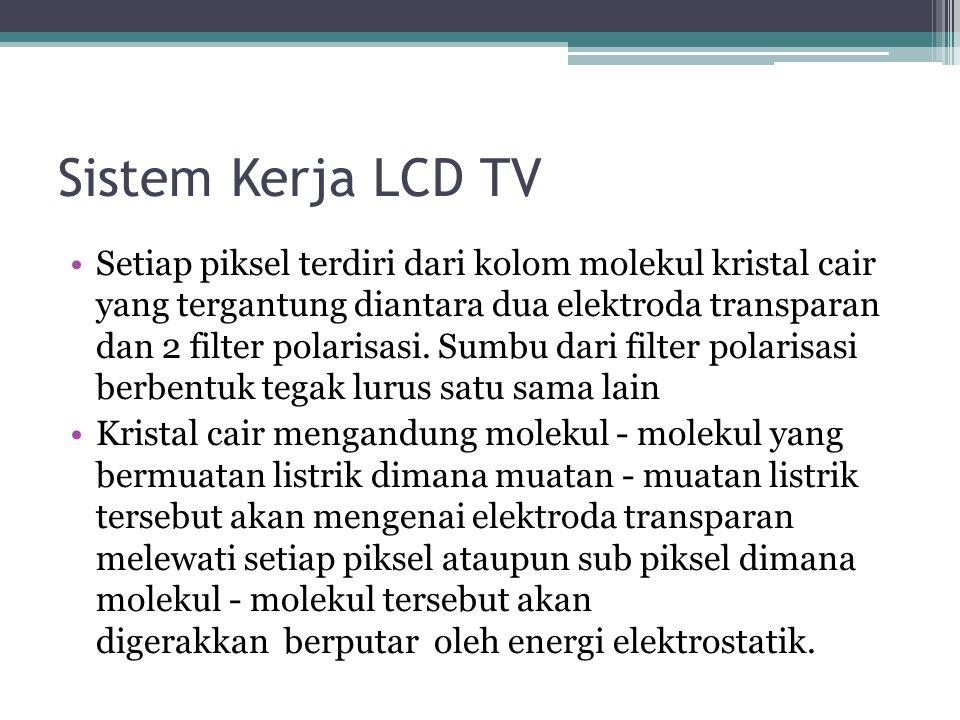 Kelemahan LCD TV Kualitas gambar akan menurun apabila dilihat pada sudut pandang yang lebar Untuk ukuran yang besar, harganya lebih mahal apabila diba