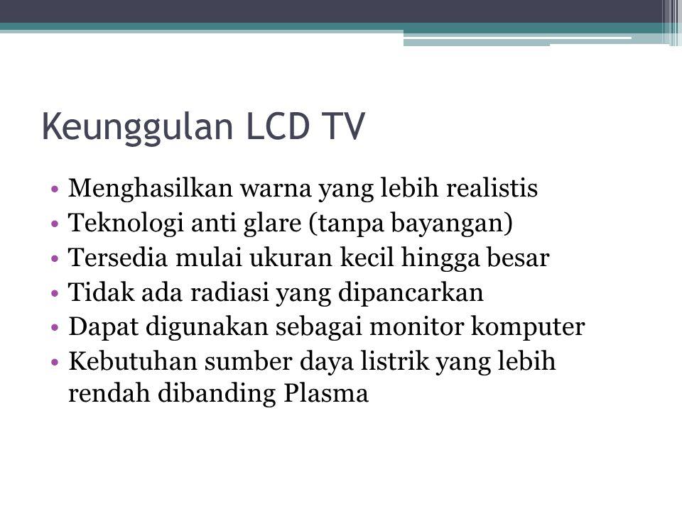 Sistem Kerja LCD TV Setiap piksel terdiri dari kolom molekul kristal cair yang tergantung diantara dua elektroda transparan dan 2 filter polarisasi. S