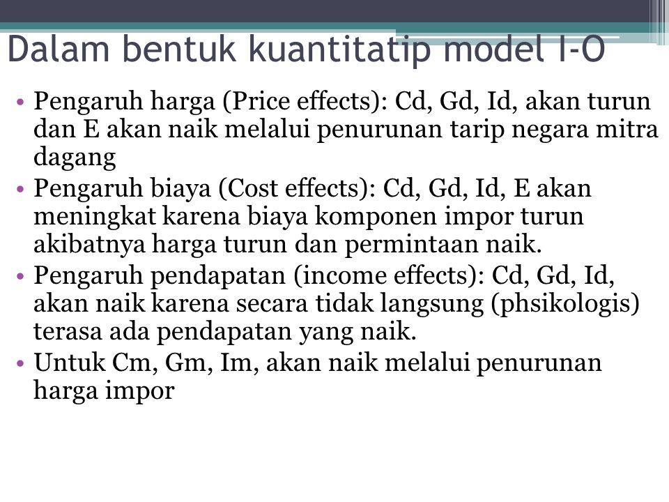 Dalam bentuk kuantitatip model I-O Pengaruh harga (Price effects): Cd, Gd, Id, akan turun dan E akan naik melalui penurunan tarip negara mitra dagang
