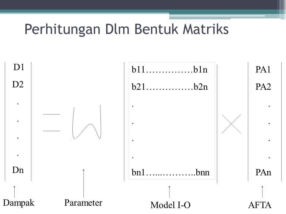 Perhitungan Dlm Bentuk Matriks D1 D2. Dn b11……………b1n b21……………b2n. bn1…...………..bnn PA1 PA2. PAn Parameter AFTAModel I-O Dampak