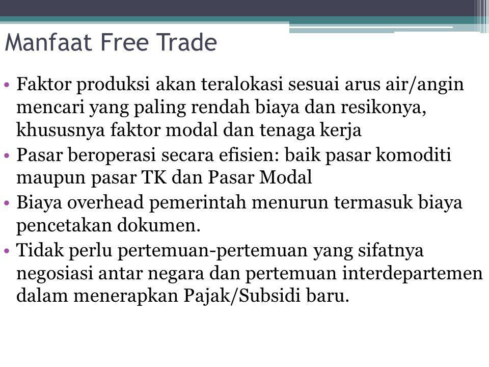 Manfaat Free Trade Faktor produksi akan teralokasi sesuai arus air/angin mencari yang paling rendah biaya dan resikonya, khususnya faktor modal dan te
