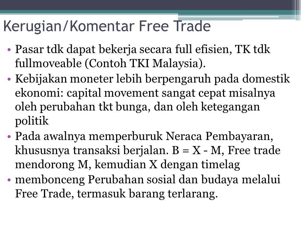 Kerugian/Komentar Free Trade Pasar tdk dapat bekerja secara full efisien, TK tdk fullmoveable (Contoh TKI Malaysia). Kebijakan moneter lebih berpengar