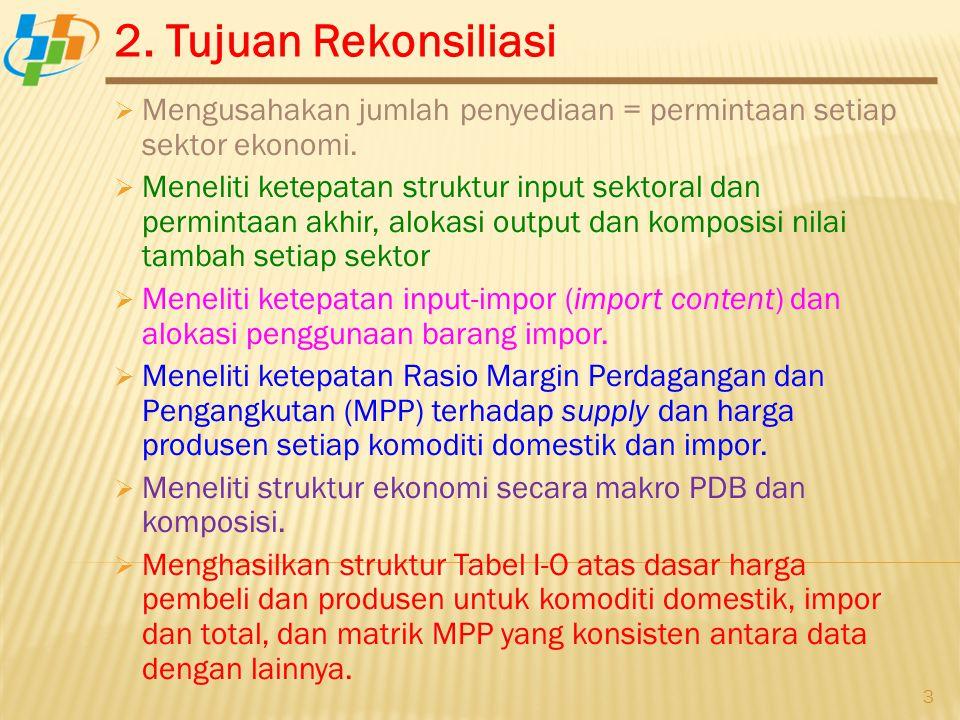 2. Tujuan Rekonsiliasi 3  Mengusahakan jumlah penyediaan = permintaan setiap sektor ekonomi.  Meneliti ketepatan struktur input sektoral dan permint