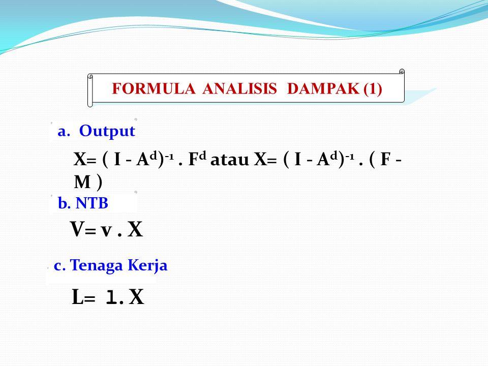 X= ( I - A d ) -1. F d atau X= ( I - A d ) -1. ( F - M ) a. Output V= v. X L= l. X FORMULA ANALISIS DAMPAK (1) b. NTB c. Tenaga Kerja