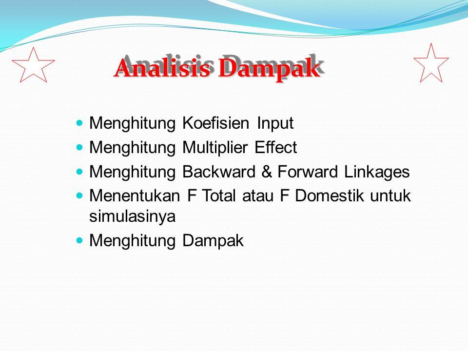Menghitung Koefisien Input Menghitung Multiplier Effect Menghitung Backward & Forward Linkages Menentukan F Total atau F Domestik untuk simulasinya Me