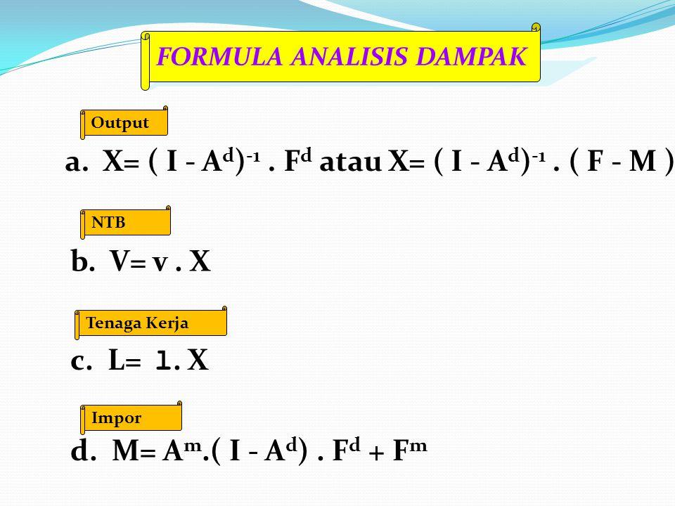 a. X= ( I - A d ) -1. F d atau X= ( I - A d ) -1. ( F - M ) Output b. V= v. X NTB c. L= l. X Tenaga Kerja d. M= A m.( I - A d ). F d + F m Impor FORMU