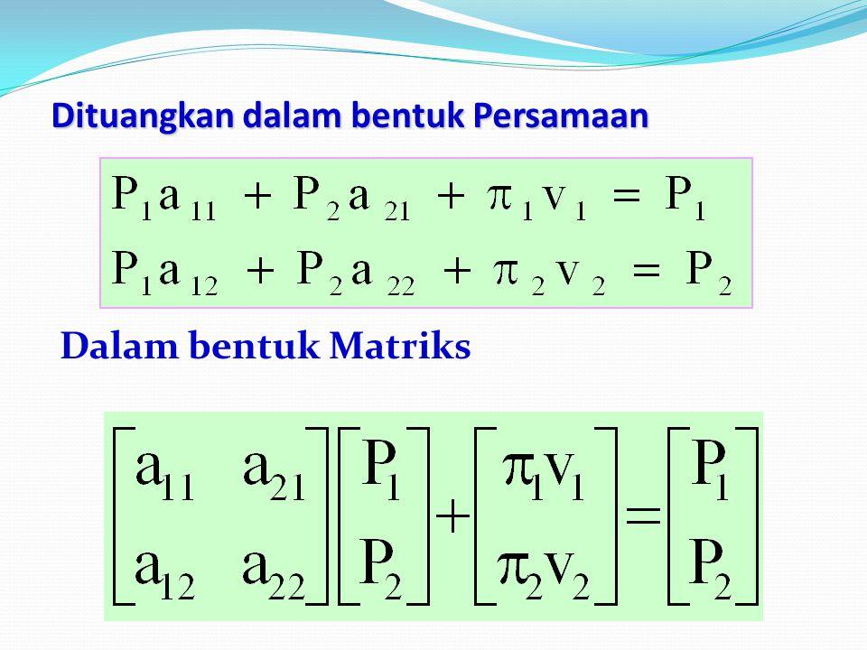 Dituangkan dalam bentuk Persamaan Dalam bentuk Matriks