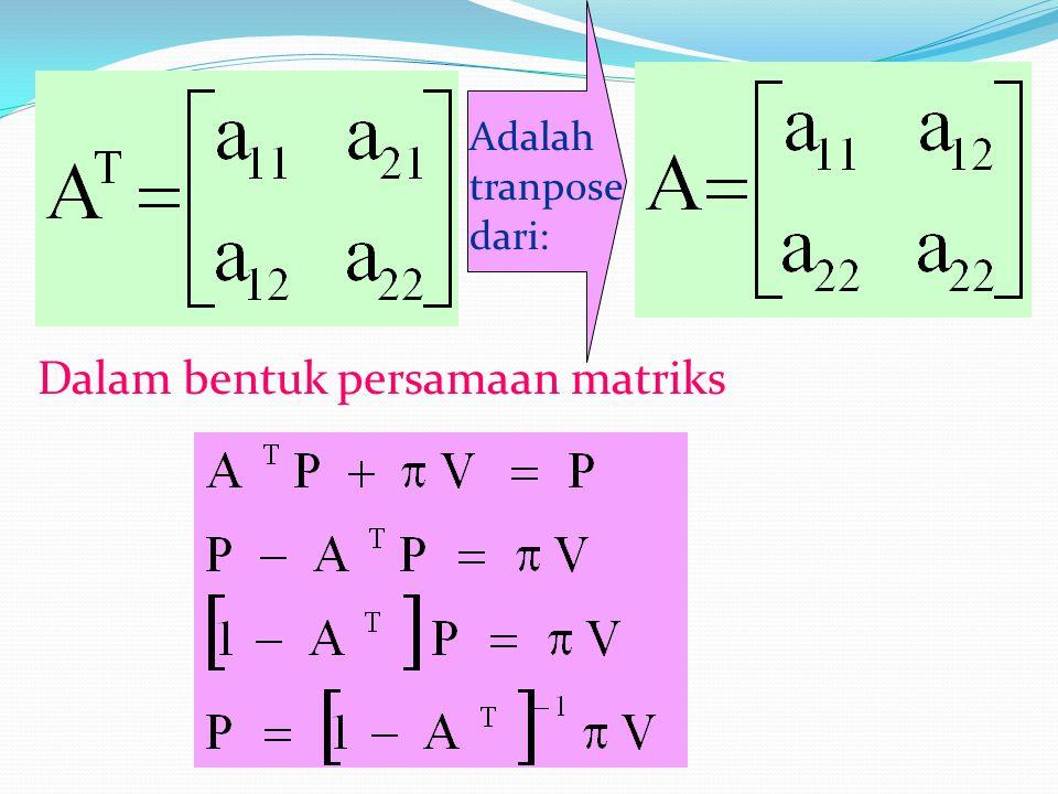 Adalah tranpose dari: Dalam bentuk persamaan matriks