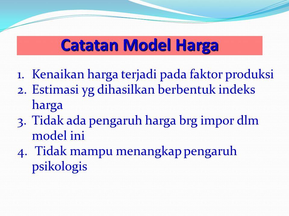 Catatan Model Harga 1.Kenaikan harga terjadi pada faktor produksi 2.Estimasi yg dihasilkan berbentuk indeks harga 3.Tidak ada pengaruh harga brg impor