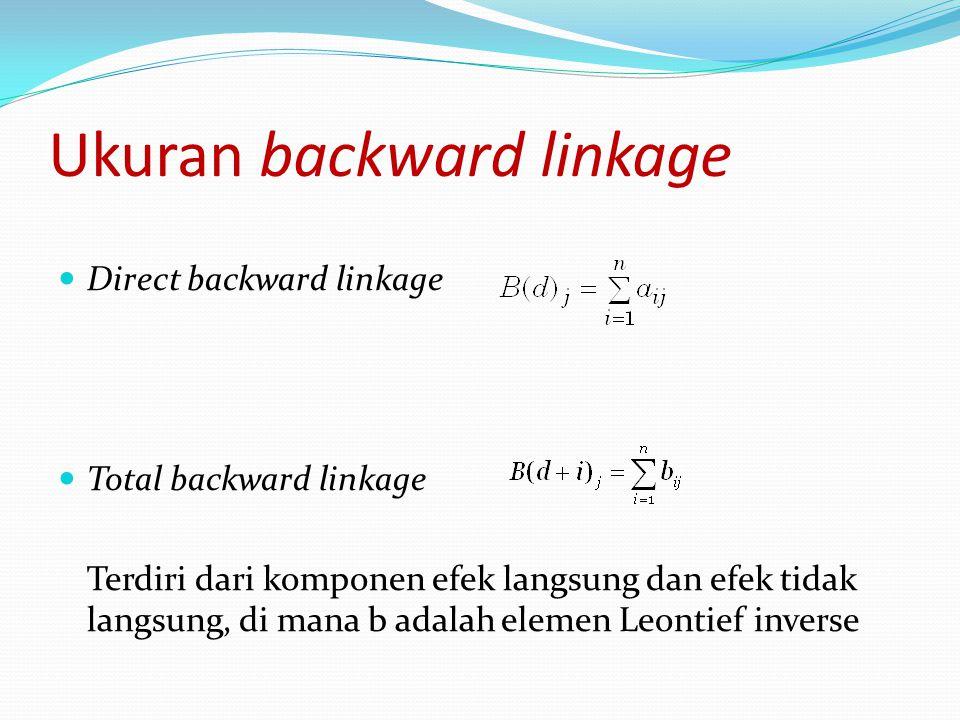 Ukuran backward linkage Direct backward linkage Total backward linkage Terdiri dari komponen efek langsung dan efek tidak langsung, di mana b adalah e