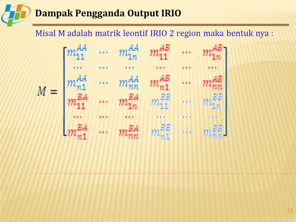 13 Dampak Pengganda Output IRIO Misal M adalah matrik leontif IRIO 2 region maka bentuk nya :