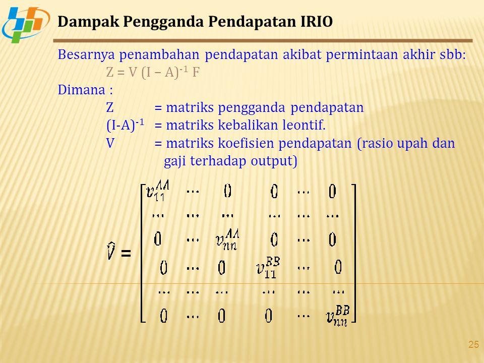 25 Dampak Pengganda Pendapatan IRIO Besarnya penambahan pendapatan akibat permintaan akhir sbb: Z = V (I – A) -1 F Dimana : Z = matriks pengganda pendapatan (I-A) -1 = matriks kebalikan leontif.