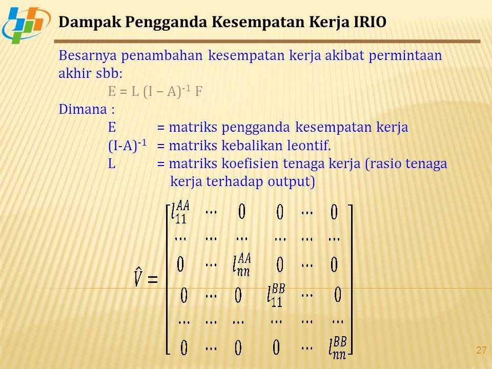 27 Dampak Pengganda Kesempatan Kerja IRIO Besarnya penambahan kesempatan kerja akibat permintaan akhir sbb: E = L (I – A) -1 F Dimana : E = matriks pengganda kesempatan kerja (I-A) -1 = matriks kebalikan leontif.