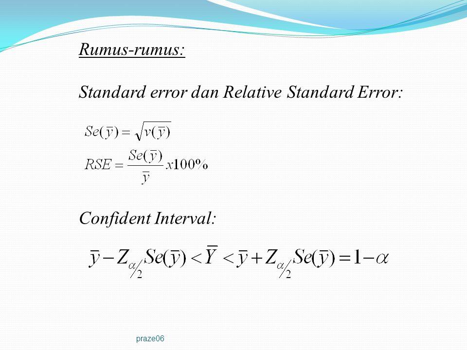 praze06 Rumus-rumus: Confident Interval: Standard error dan Relative Standard Error:
