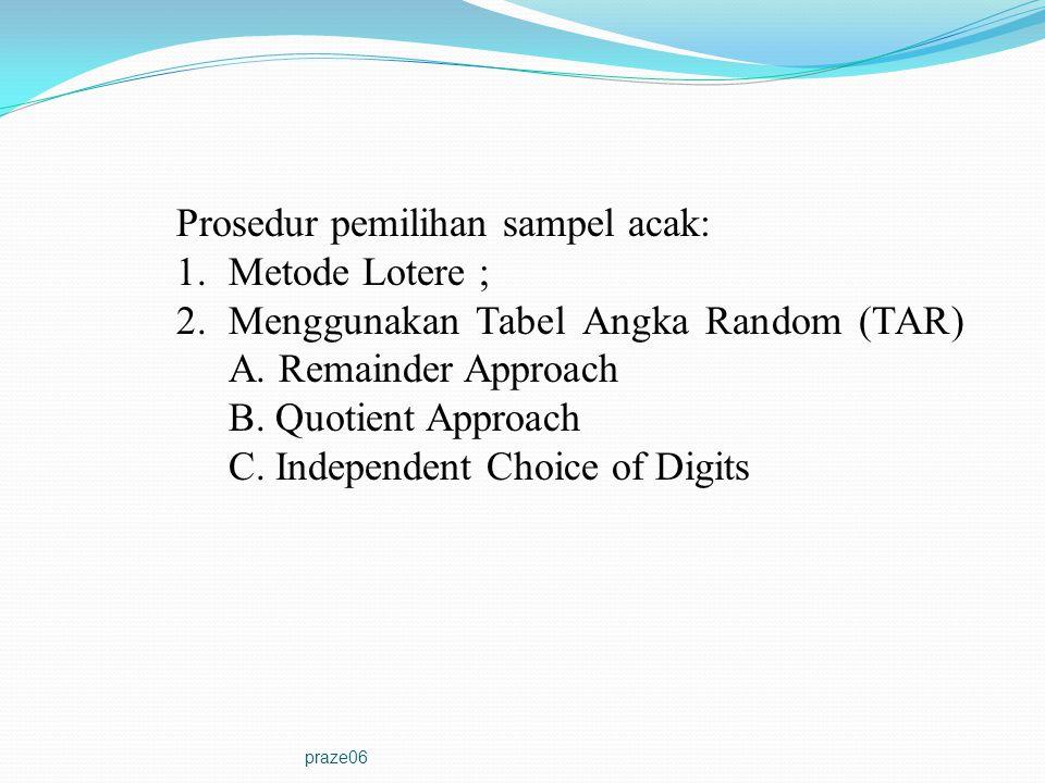 praze06 Prosedur pemilihan sampel acak: 1.Metode Lotere ; 2.Menggunakan Tabel Angka Random (TAR) A.