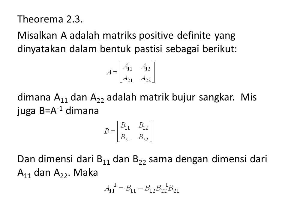 Theorema 2.3. Misalkan A adalah matriks positive definite yang dinyatakan dalam bentuk pastisi sebagai berikut: dimana A 11 dan A 22 adalah matrik buj