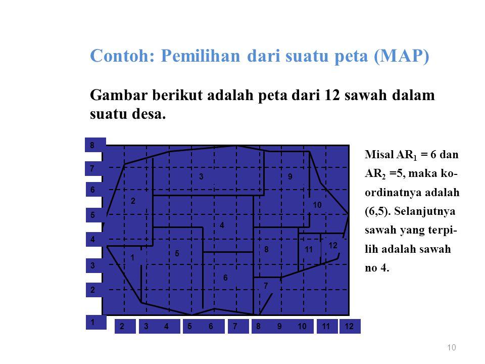 10 Contoh: Pemilihan dari suatu peta (MAP) Gambar berikut adalah peta dari 12 sawah dalam suatu desa. 2 1 4 3 5 6 9 7 8 12 11 10 2 1 4356978111012 2 4