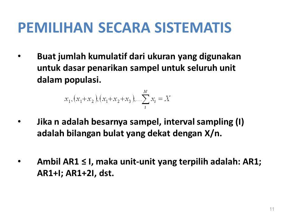 PEMILIHAN SECARA SISTEMATIS Buat jumlah kumulatif dari ukuran yang digunakan untuk dasar penarikan sampel untuk seluruh unit dalam populasi. Jika n ad