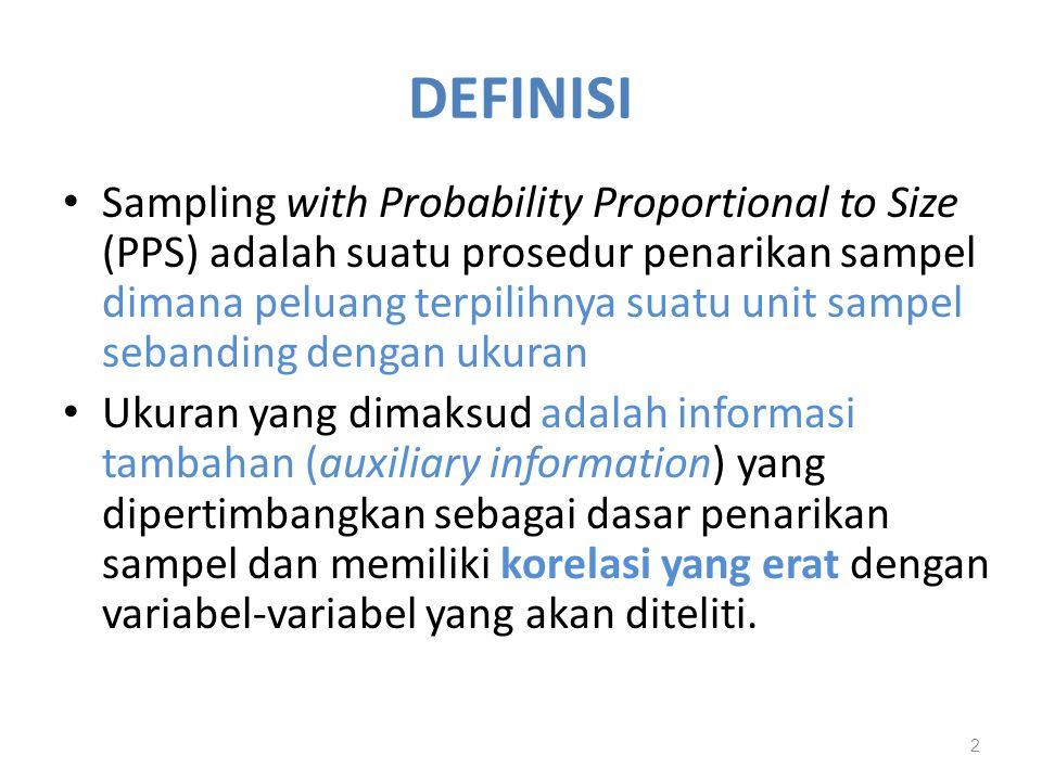 DEFINISI Sampling with Probability Proportional to Size (PPS) adalah suatu prosedur penarikan sampel dimana peluang terpilihnya suatu unit sampel seba
