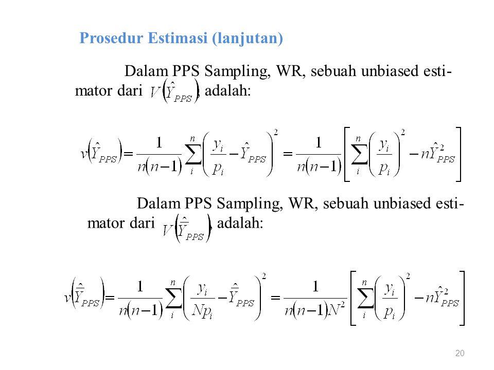 20 Prosedur Estimasi (lanjutan) Dalam PPS Sampling, WR, sebuah unbiased esti- mator dari, adalah: