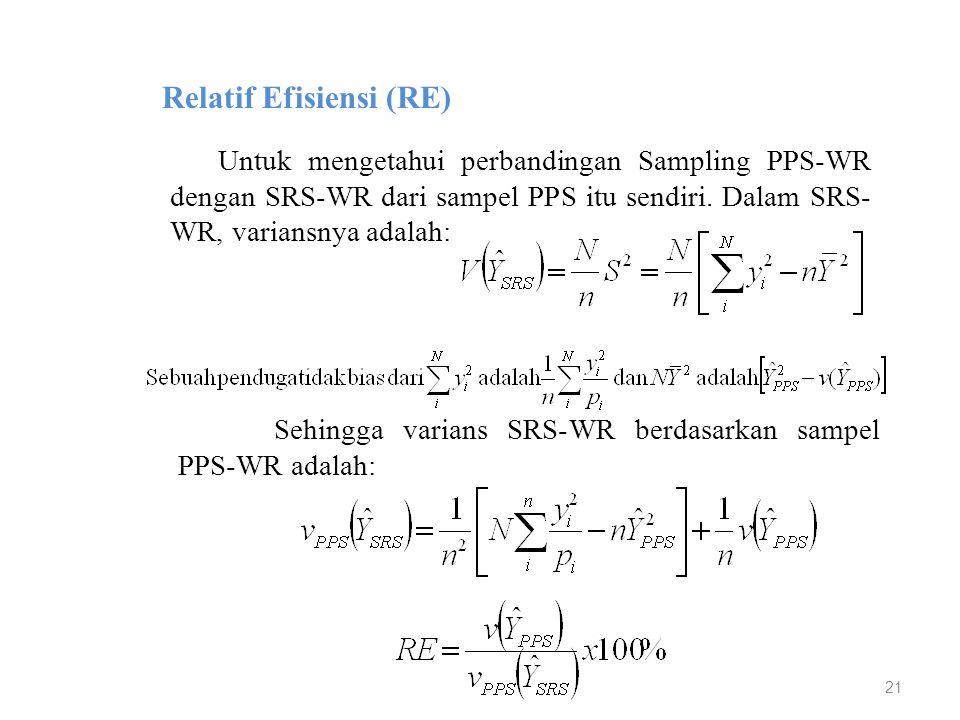 21 Relatif Efisiensi (RE) Untuk mengetahui perbandingan Sampling PPS-WR dengan SRS-WR dari sampel PPS itu sendiri. Dalam SRS- WR, variansnya adalah: S