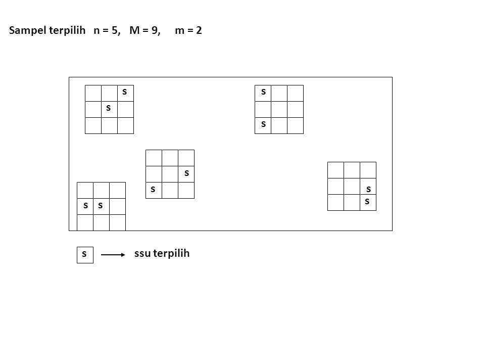 ss s s s s s s s s sssu terpilih Sampel terpilih n = 5, M = 9, m = 2