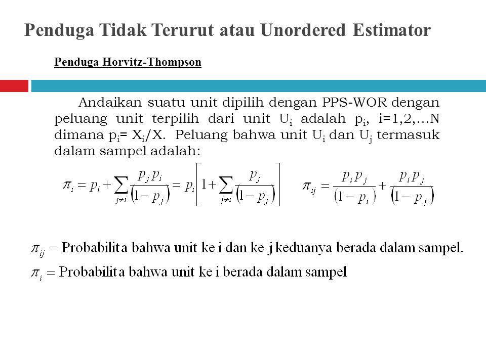Penduga Horvitz-Thompson Andaikan suatu unit dipilih dengan PPS-WOR dengan peluang unit terpilih dari unit U i adalah p i, i=1,2,…N dimana p i = X i /X.