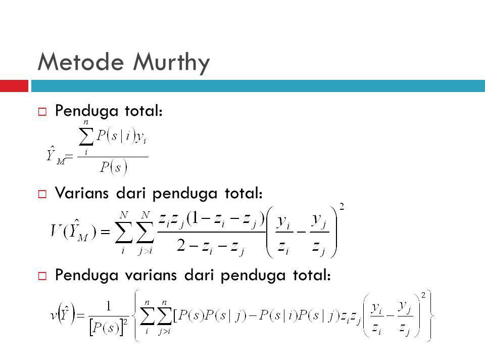 Metode Murthy  Penduga total:  Varians dari penduga total:  Penduga varians dari penduga total:
