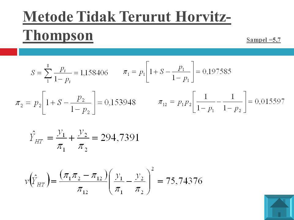 Metode Tidak Terurut Horvitz- Thompson Sampel =5,7