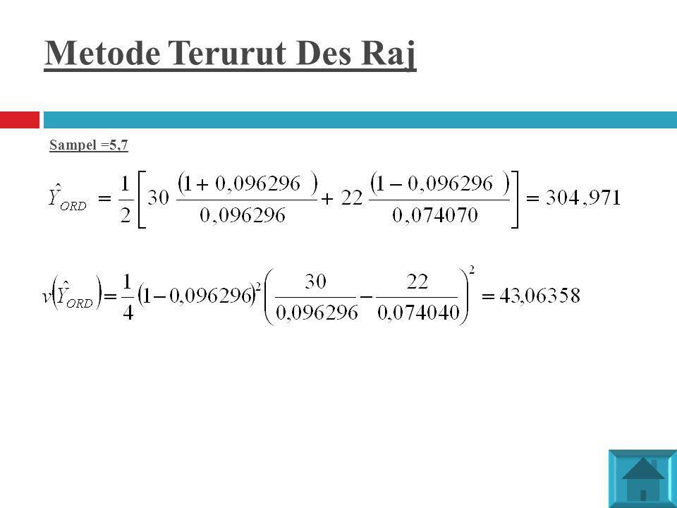Metode Terurut Des Raj Sampel =5,7