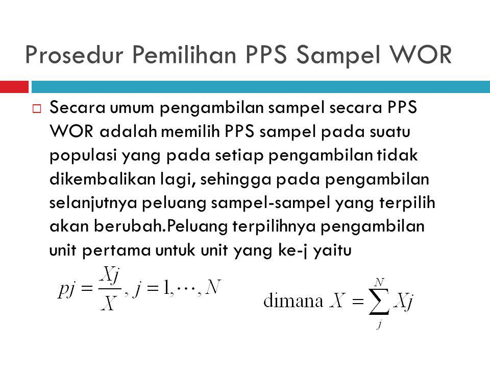 Prosedur Pemilihan PPS Sampel WOR  Secara umum pengambilan sampel secara PPS WOR adalah memilih PPS sampel pada suatu populasi yang pada setiap pengambilan tidak dikembalikan lagi, sehingga pada pengambilan selanjutnya peluang sampel-sampel yang terpilih akan berubah.Peluang terpilihnya pengambilan unit pertama untuk unit yang ke-j yaitu