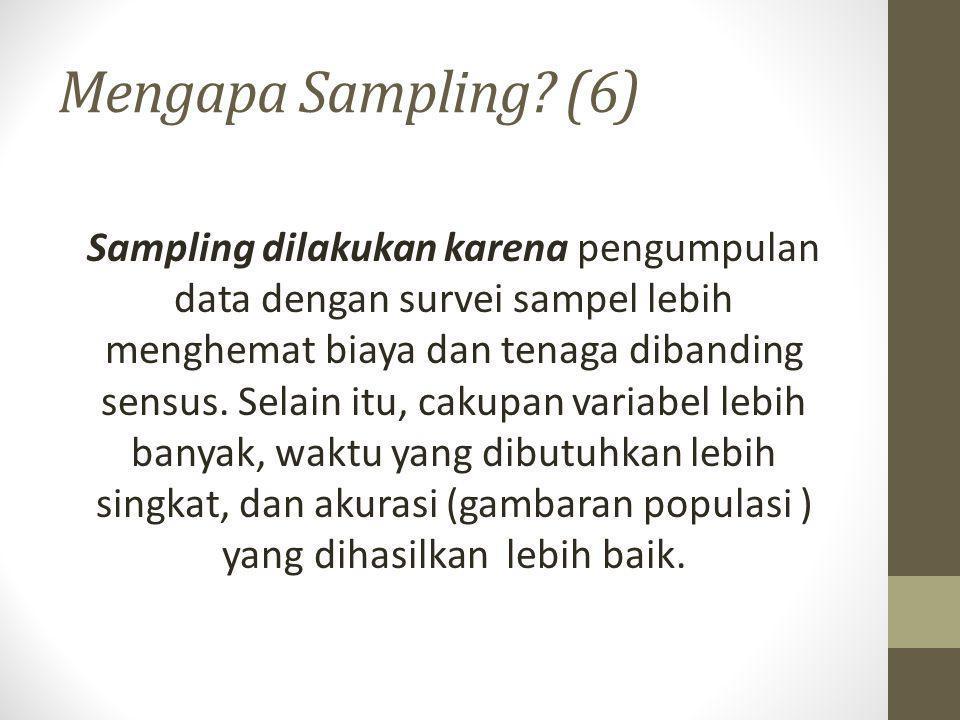 Kesalahan Sampling (1) Kesalahan sampel (kesalahan sampel yang digunakan untuk mengestimasi populasi) Sampling error Kesalahan karena faktor sampling Non-sampling error Kesalahan bukan karena faktor sampling