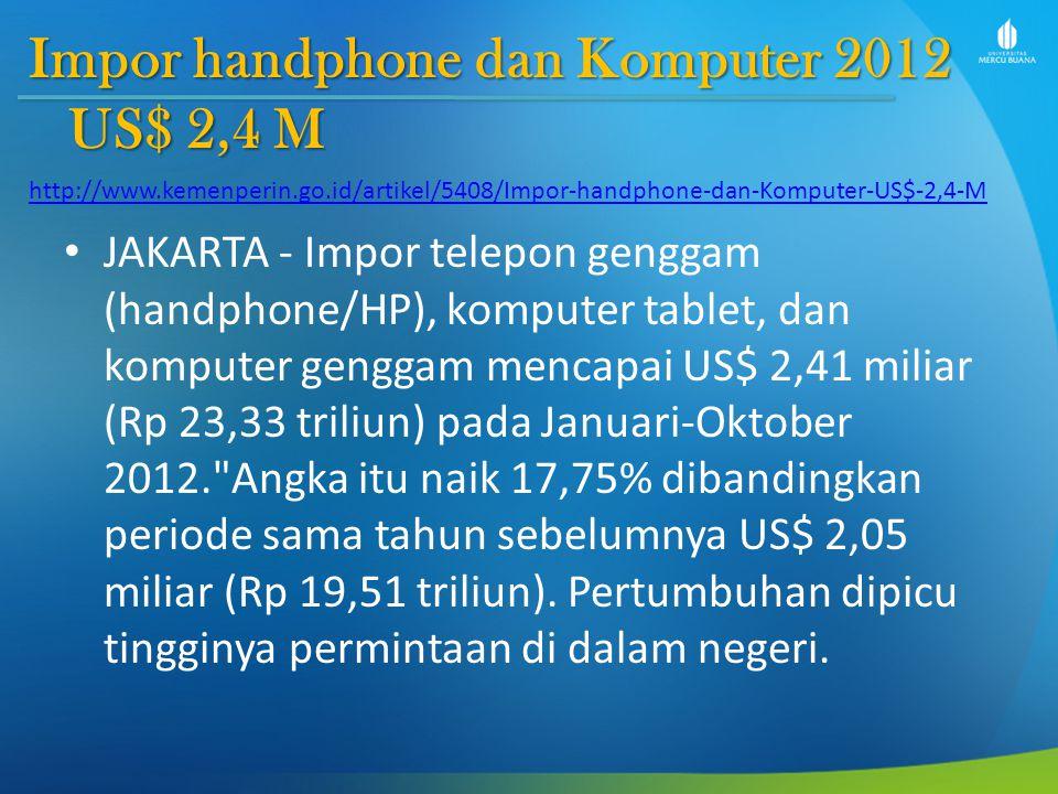Impor handphone dan Komputer 2012 US$ 2,4 M JAKARTA - Impor telepon genggam (handphone/HP), komputer tablet, dan komputer genggam mencapai US$ 2,41 miliar (Rp 23,33 triliun) pada Januari-Oktober 2012. Angka itu naik 17,75% dibandingkan periode sama tahun sebelumnya US$ 2,05 miliar (Rp 19,51 triliun).