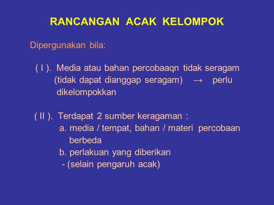 RANCANGAN ACAK KELOMPOK Dipergunakan bila: ( I ). Media atau bahan percobaaqn tidak seragam (tidak dapat dianggap seragam) → perlu dikelompokkan ( II