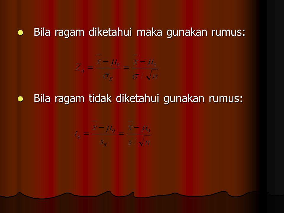 Bila ragam diketahui maka gunakan rumus: Bila ragam diketahui maka gunakan rumus: Bila ragam tidak diketahui gunakan rumus: Bila ragam tidak diketahui