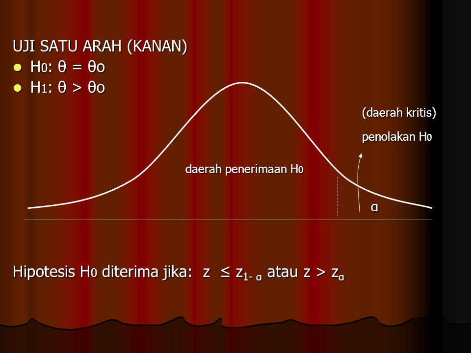UJI SATU ARAH (KANAN) H 0 : θ = θo H 0 : θ = θo H 1 : θ > θo H 1 : θ > θo (daerah kritis) (daerah kritis) penolakan H 0 penolakan H 0 daerah penerimaa