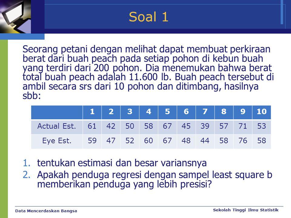 Data Mencerdaskan Bangsa Sekolah Tinggi Ilmu Statistik Soal 1 Seorang petani dengan melihat dapat membuat perkiraan berat dari buah peach pada setiap
