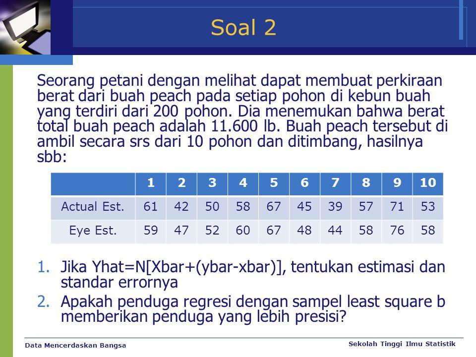 Data Mencerdaskan Bangsa Sekolah Tinggi Ilmu Statistik Soal 2 Seorang petani dengan melihat dapat membuat perkiraan berat dari buah peach pada setiap
