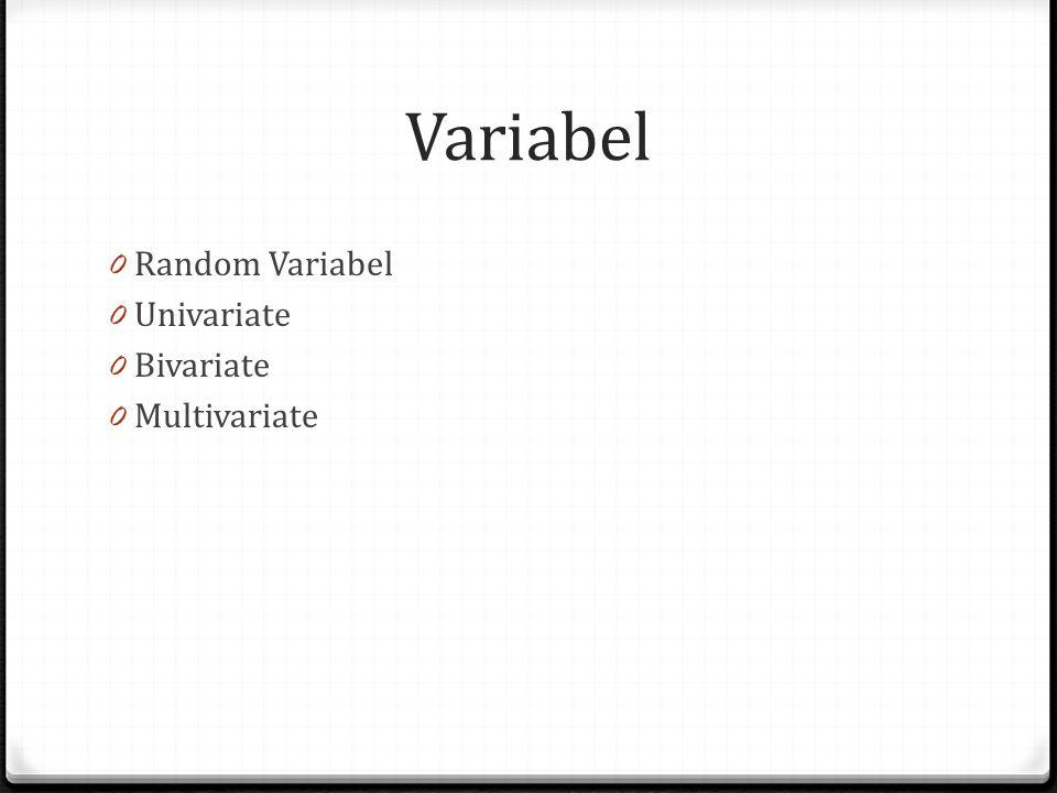Variabel 0 Random Variabel 0 Univariate 0 Bivariate 0 Multivariate
