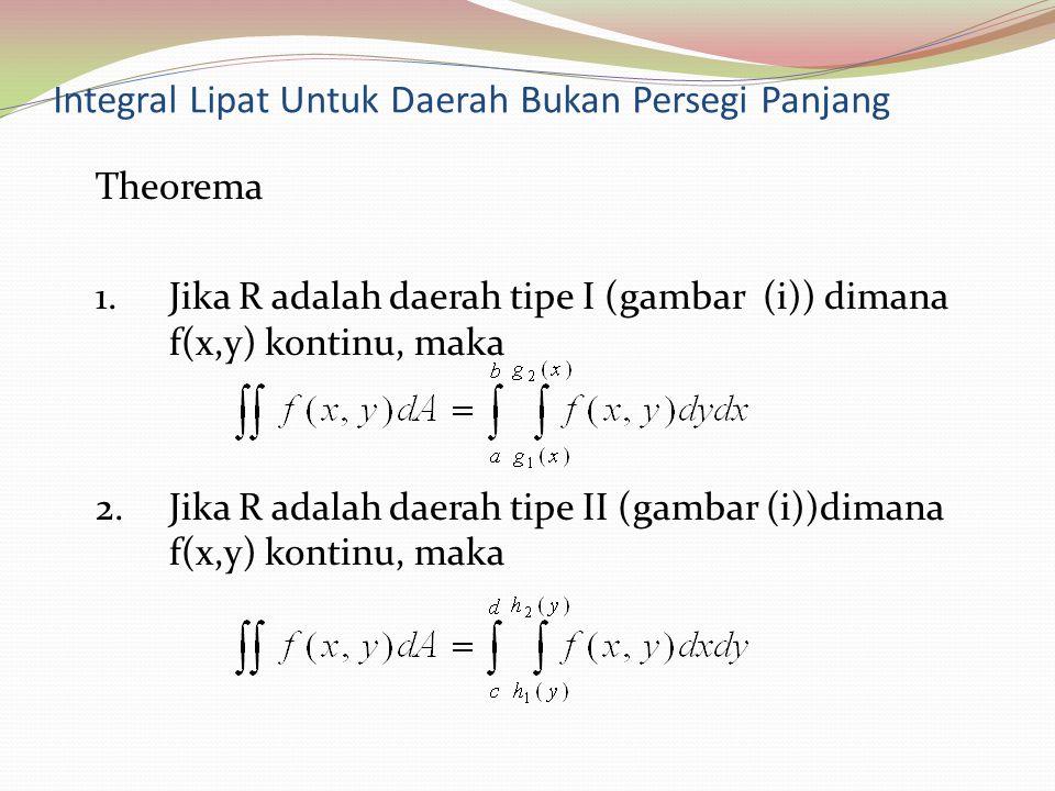 Integral Lipat Untuk Daerah Bukan Persegi Panjang Theorema 1.Jika R adalah daerah tipe I (gambar (i)) dimana f(x,y) kontinu, maka 2.Jika R adalah daer