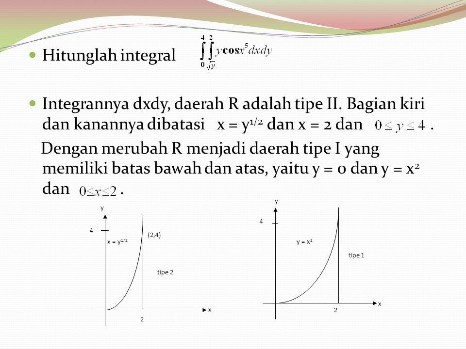 Hitunglah integral Integrannya dxdy, daerah R adalah tipe II. Bagian kiri dan kanannya dibatasi x = y 1/2 dan x = 2 dan. Dengan merubah R menjadi daer