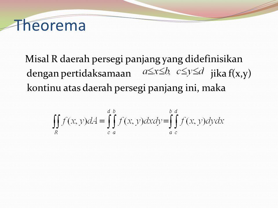 Theorema Misal R daerah persegi panjang yang didefinisikan dengan pertidaksamaan jika f(x,y) kontinu atas daerah persegi panjang ini, maka